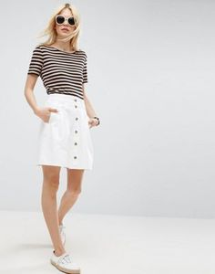 ASOS white button-front skirt | Perfect for walking around in the summer heat