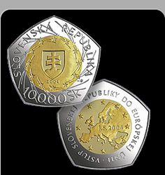 Slovak Republic 10,000 Sk. Palladium Coin. Slovak Republic bullion 2004 issue in 10,000 Sk. Coin commemorates the addition of the Slovak Republic to the European Union.