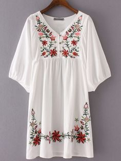 Shop White V Neck Hibiscus Embroidered Loose Dress online. SheIn offers White V Neck Hibiscus Embroidered Loose Dress & more to fit your fashionable needs. Floral Embroidery Dress, White Embroidery, Embroidered Dresses, Embroidered Flowers, Embroidery Fashion, Vintage Embroidery, Look Boho, Bohemian Style, Boho Chic