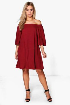 boohoo Plus Maya Off The Shoulder Swing Dress  This sexy plus size dress is simple and flattering to curvy figures. Available in different jewel tones.  #plussize #curvy  Sponsored link