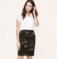 """Curvy Fit Camo Pencil Skirt - Especially designed to flatter curves, we can't hide how much we love this camo covetable, in stretch cotton twill. Zip fly with two-button closure. Belt loops. Front slash pockets. Back button through welt pockets. Tonal topstitching throughout. 22"""" long."""