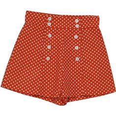 Retro 1950's Shorts (Pantasias) : 50s style (made in 70s) -Pantasias-... (93 BRL) ❤ liked on Polyvore featuring shorts, bottoms, pants, dot shorts, cotton shorts, high waisted polka dot shorts, high-waisted shorts and polka dot shorts