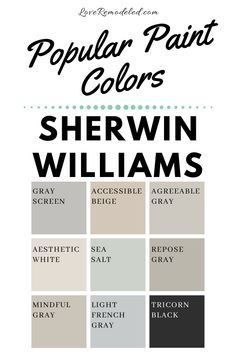 These amazing paint colors are going to be gorgeous in your room! Though greiges are hugely popular, the list is rounded out with a light greenish blue, a striking black, and a pretty white. Check them all out here!