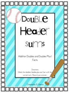 This baseball themed activity will have students engaged as they practice adding doubles and doubles plus 1 facts.This can be used as a math wo...