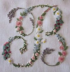 Wonderful Ribbon Embroidery Flowers by Hand Ideas. Enchanting Ribbon Embroidery Flowers by Hand Ideas. Embroidery Letters, Silk Ribbon Embroidery, Hand Embroidery Patterns, Floral Embroidery, Cross Stitch Embroidery, Machine Embroidery, Simple Embroidery, Embroidered Flowers, Embroidery Thread