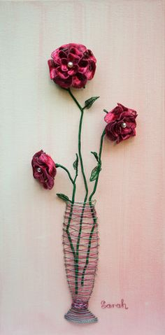 Wire Art on canvas: Long-stem red and pink wire roses on canvas by Sarah Jansma Wire Art, Various Artists, Red And Pink, Crochet Necklace, Canvas Art, Roses, Butterfly, Blue, Pink