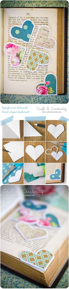 Corner bookmarks - heart shaped