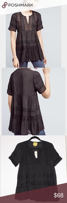 "Anthropologie Tiered Lace Tunic NWT Maeve babydoll style tunic. Polyester, cotton, nylon. 26.5"" Length. True to size. Anthropologie Tops Blouses"
