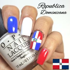 Love these nails viva Dominican Republic! Joy Nails, Beauty Nails, Cute Nails, Pretty Nails, Flag Nails, Botanic Nails, Nagel Hacks, Broken Nails, Coffin Shape Nails