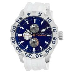 Nautica Men's N15567G BFD 100 Multifunction Blue Dial Watch NAUTICA. $94.90. Water-resistant to 330 feet (100 M). Multifunction movement. White resin strap. Blue dial. Stainless steel case. Save 39%!