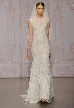 Lace Illusion Wedding Dress | Monique Lhuillier Fall 2015 | blog.theknot.com