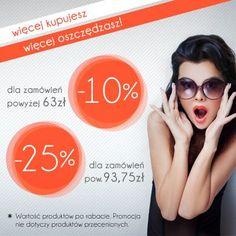 Więcej kupujesz - więcej oszczędzasz! www.eBUTIK.pl  dla zamówień powyżej 63zł* -10% rabatu! dla zamówień powyżej 93,75zł* - 25% rabatu!  * Wartość produktów po rabacie. Promocja nie dotyczy produktów przecenionych.  W sklepach stacjonarnych -50% na drugą rzecz!  Zapraszamy na zakupy;-)