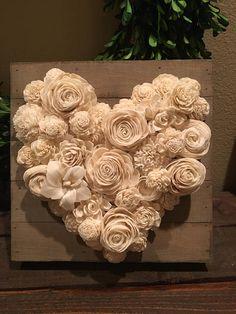 Sola Flower Heart Decor 10 x 10 Wood Flower Bouquet, Sola Wood Flowers, Wooden Flowers, Rolled Paper Flowers, How To Make Paper Flowers, Fabric Flowers, Origami Wedding, Newspaper Crafts, Heart Decorations