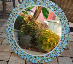Custom Round Mosaic Wall Mirror by GreenStreetMosaics on Etsy, $210.00