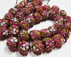LOOSE BEADS  Lampwork Glass Art Beads  Berry Pink by beadparty, $3.50