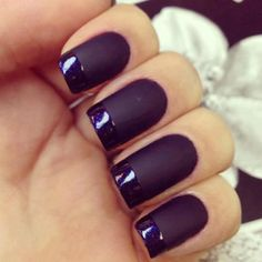 Matte finish with gloss french tips. A lovely contrast of texture.