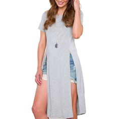 26899af9ee054 Fashion New Women Robe Style Long T Shirt Dress Sexy Double Side Split T- Shirt 2017 Summer Casual Loose Tee Tops