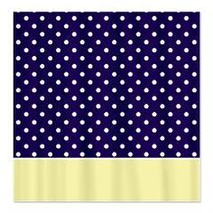 Navy Blue/Yellow w/Dots Shower Curtain > White Dots > MarloDee Designs Shower Curtains