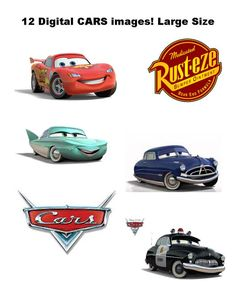 """9"""" DIGITAL Disney CARS Centerpieces - Large Size - Lightning McQueen Tow Mater - Print at Home DIY"""