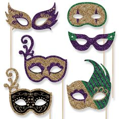 Big Dot of Happiness Mardi Gras Masks & Glasses - Paper Card Stock Masquerade Party Photo Booth Props Kit - 10 Count Mardi Gras Centerpieces, Mardi Gras Decorations, Mardi Gras Outfits, Mardi Gras Costumes, Mardi Gras Masks, Mardi Gras Beads, Mardi Gras Party, Photos Booth, Photo Booth Props