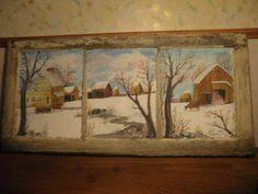 Antique winter scene on old barn window from by KatesKollectables, $275.00