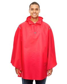 Adult Zone Protect Packable Poncho - SPORT RED - OS | Team 365 Adult Zone Protect Packable Poncho Coat in Sport Red | Polyester Poncho Coat, Packable Jacket, Blank T Shirts, Premium Brands, Wholesale Clothing, Adulting, Rain Jacket, Sports, Tape
