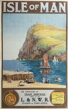 Isle of Man, UK Vintage Travel Train Poster Posters Uk, Train Posters, Railway Posters, Poster Ads, Advertising Poster, Vintage Poster, Vintage Travel Posters, Vintage Postcards, Vintage Advertisements