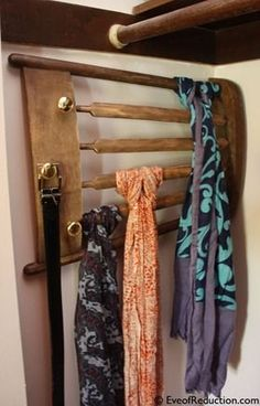 DIY scarf rack from old chair (or with just plain wood) for my future walk in closet...:)
