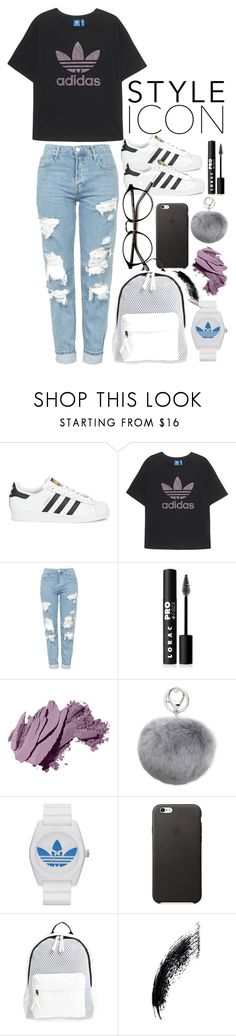 """""""cute outfit"""" by katieivory ❤ liked on Polyvore featuring adidas Originals, Topshop, LORAC, Bobbi Brown Cosmetics, Adrienne Landau, adidas and Poverty Flats"""