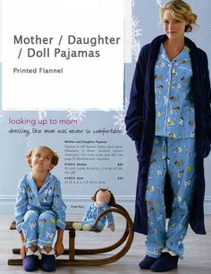 Flannel PJs for Mother, Daughter, and doll for The Company Store