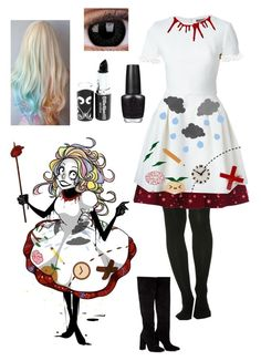 """Don't Hug Me I'm Scared Paige Outfit"" by ender1027 ❤ liked on Polyvore featuring Alexander McQueen, Miss Selfridge, Anouki and OPI"