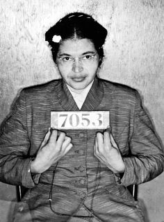 In this 1955 picture, Rosa Parks is seen in her Montgomery county mugshot after being arrested for refusing to give up her seat on a public bus to a white passenger. The actions of Rosa Parks and the subsequent Montgomery Bus Boycott became important symbols of the Civil Rights Movement during the mid-20th century.