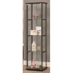 coaster co of america metal and glass curio cabinet