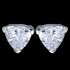 Silver earrings, CZ, triangle Silver earrings, Ag 925/1000 - sterling silver. With stones (CZ - cubic zirconia). Stud earrings with friction back. Gorgeous, robust triangle-shaped zircon is set by a goldsmith. Dimensions of zircon approx. 10x10mm. Price per pair.