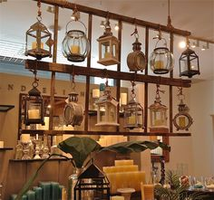 Great Another fun use for old ladder parts – neat display idea! The post Another fun use for old ladder parts – neat display idea!… appeared first on Poll Decor . Vibeke Design, Driven By Decor, Hanging Lanterns, Hanging Shelves, Hanging Ladder, Christmas Store, Displaying Collections, Antique Stores, Antique Store Displays