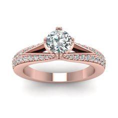 Round Cut diamond Split Shank Engagement Ring with White Diamond in 14K Rose Gold    Micro Pave Split Shank Round Ring   