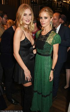 Fashion friends: Rosie caught up with her friend Laura Bailey at the bash ...