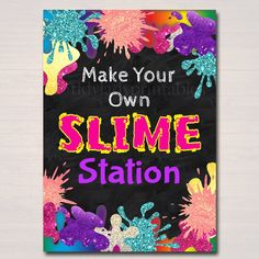 Slime Party Birthday Sign, Mad Scientist Kids Party, Make Your Own Slime Station Digital Sign, Girl' 10th Birthday Parties, Birthday Party Decorations, School Decorations, Science Party, Mad Science, Science Fair, Mad Scientist Party, Make Your Own, Make It Yourself