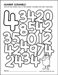Number scramble activity worksheet for number 4 for preschool children Preschool Number Worksheets, Numbers Preschool, Learning Numbers, Math Numbers, Kindergarten Worksheets, Math Classroom, Math Activities, Preschool Activities, Printable Numbers