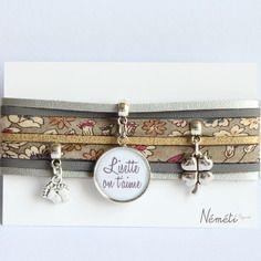 Bracelet liberty tissu japonais beige - médaille prénom / texte personnalisable - suédine gris argenté doré