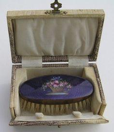 Antique Floral Guilloche Enamel Small Brush in Faux Snakeskin Box | eBay