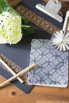 DIY Tutorial - Decorate a Creative Office with Stylish Stenciled Accessories with Royal Design Studio Craft Stencils