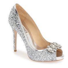 "Badgley Mischka 'Alter II' Pump, 4 1/2"" heel featuring polyvore, fashion, shoes, pumps, heels, silver, glitter shoes, badgley mischka shoes, platform shoes, peep-toe pumps and high heel platform pumps"