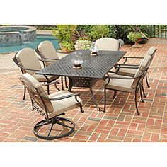 @Overstock - This Home Styles Covington outdoor dining collection includes a dining table with two swivel chairs and four arm chairs. This set features a cast aluminum construction with a UV resistant, powder coated chocolate metallic finish with gold flecks.http://www.overstock.com/Home-Garden/Home-Styles-Covington-7-piece-Dining-Table-Set/6695047/product.html?CID=214117 $1,843.99