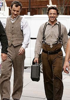"""Robert Downey Jr. and Jude Law share a laugh on the set of """"Sherlock Holmes"""""""