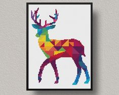 Deer Cross Stitch Pattern Geometric Animal Xstitch