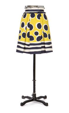 ANNA SUI for Anthropologie TRAMPOLINE Skirt sz 8 Navy & Yellow Polka Dot #AnnaSui #ALine