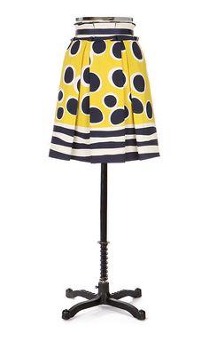 ANNA SUI for Anthropologie TRAMPOLINE Skirt sz 8 Navy & Yellow Polka Dot #AnnaSui #ALine