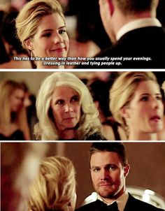 FIFTY SHADES OF GREEN hahaha I can't get over her face. LMAO!! Olicity Arrow 4x07