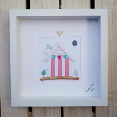 Beach hut - Unique artwork for seaside fans. Its a really special and personal gift that they surely wont get from anyone else. ✿ Handmade sea glass pictures from South Devon, UK ✿ Comes with black or white frame approx. 25 x 25 cm. Comes with glass. ✿ Comes signed by me. ✿ Can be